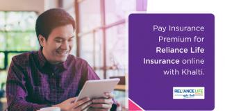 Reliance Life Insurance premium payment from Khalti