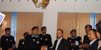 Football team of Nepal Police with Nepal Telecom